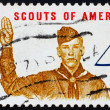 Постер, плакат: Postage stamp USA 1960 Boy scout giving scout sign