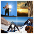 Extreme climbing collage - Stock Photo