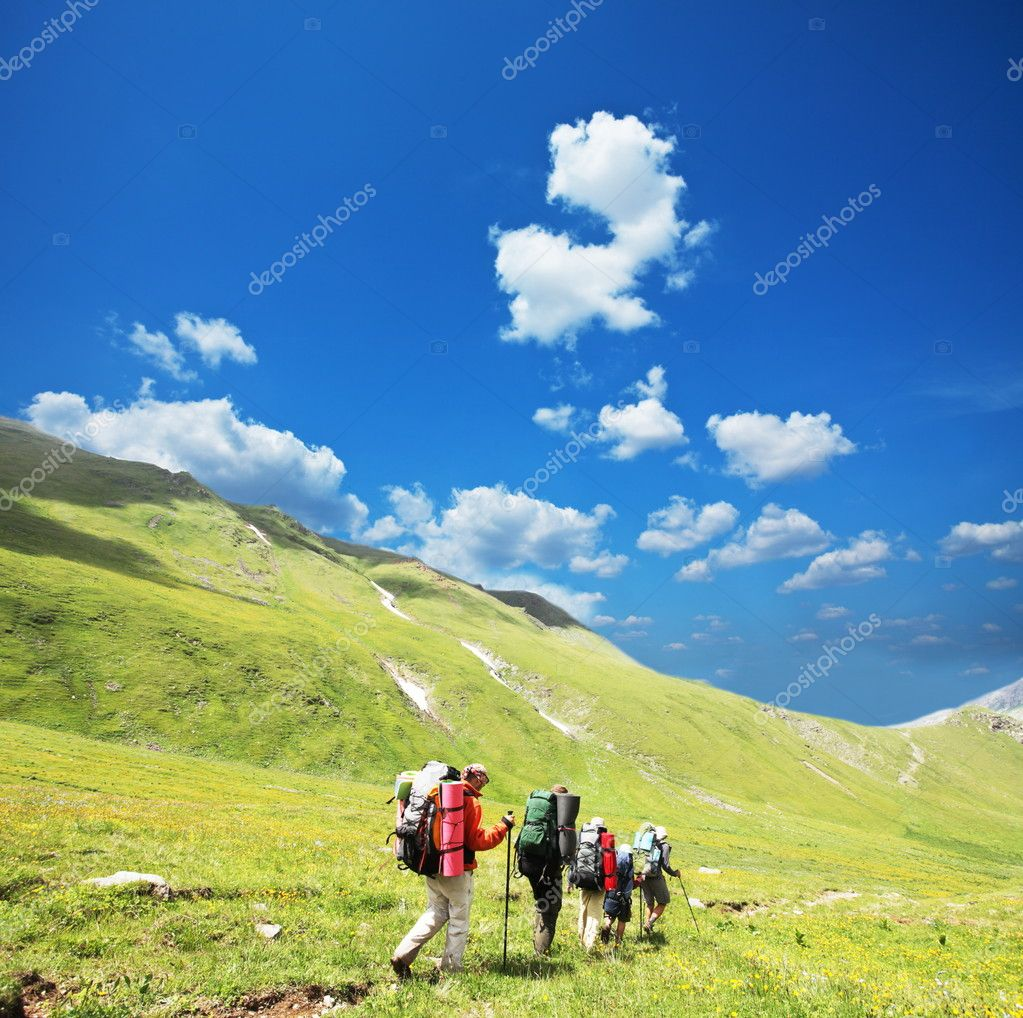 Group  in  hike  Stock Photo #6556985