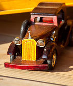 Wooden toy old car — Stock Photo