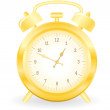 Gold alarm clock - Stock Vector