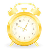 Gold alarm clock — Stock Vector