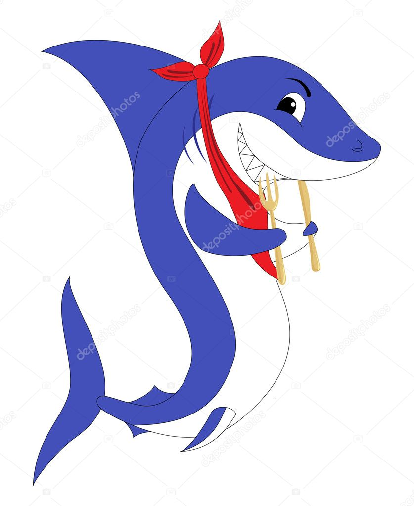 A shark with the fork and knife. Vector illustration, isolated on a white.  Stock Vector #5682142