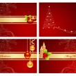 Red christmas set — Stock Vector