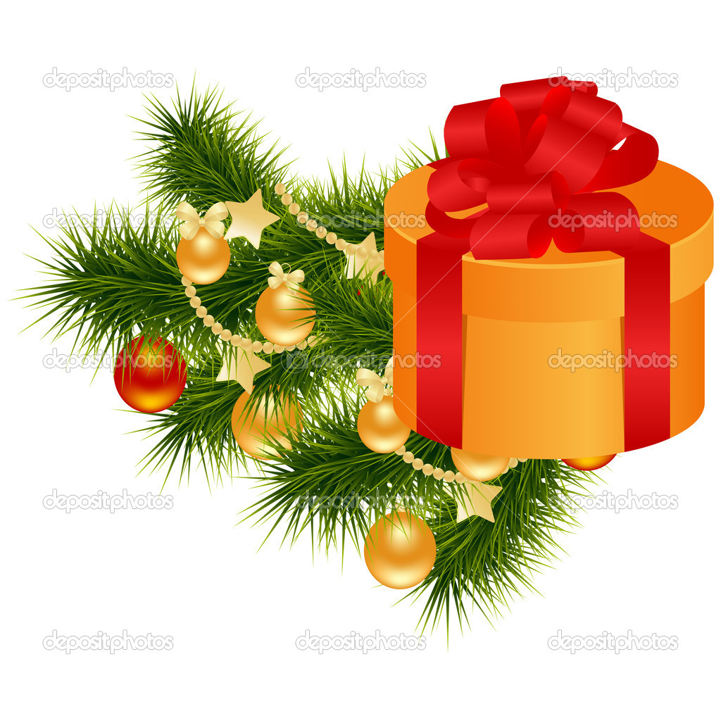 Christmas gift box with gold and red balls. Vector illustration. — Stock Vector #6424974