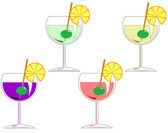 Four cocktails — Stock Vector
