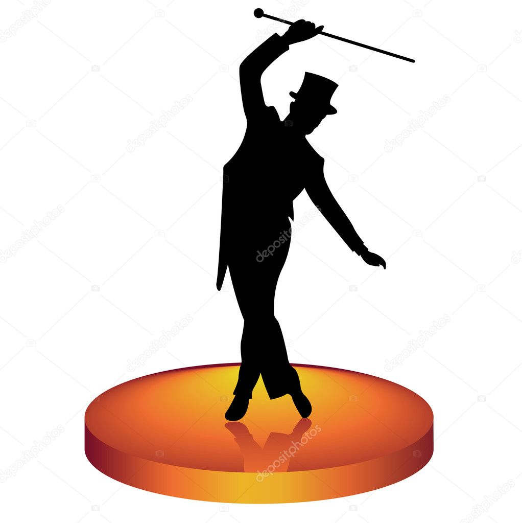 The man in a hat dances tap-dancing  Stock Vector #5822663