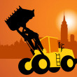 Silhouette of the bulldozer — Stock Vector