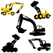Bulldozers and excavators — Stock Vector