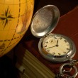 Ancient map and watch — Stock Photo