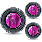 Lens and family — Stock Vector