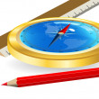 Compass and red pencil — Stock Vector
