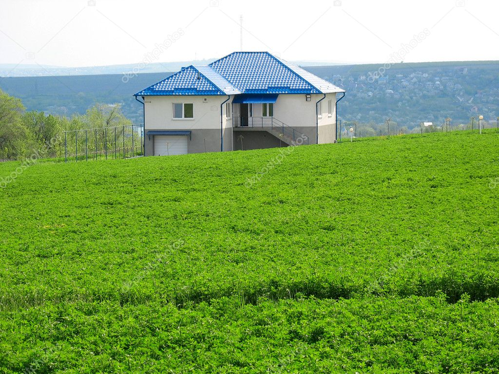 Lonely living house in middle of green meadow stock for Meadow house