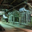 Pipes, tubes, machinery and steam turbine at power plant — Stock Photo