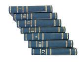 Ladder pile of books isolated on white background — Stock Photo