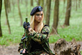 Sexy Military Girl — Stock Photo