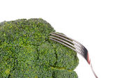 Broccoli with fork isolated on white — Stock Photo