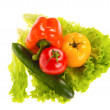 Green salad and tomato isolated on the white background - Stock Photo