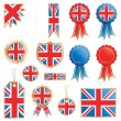 Great britain flags and rosettes — Stock Vector #5452899