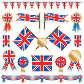 Great britain flags and rosettes — Stock Vector