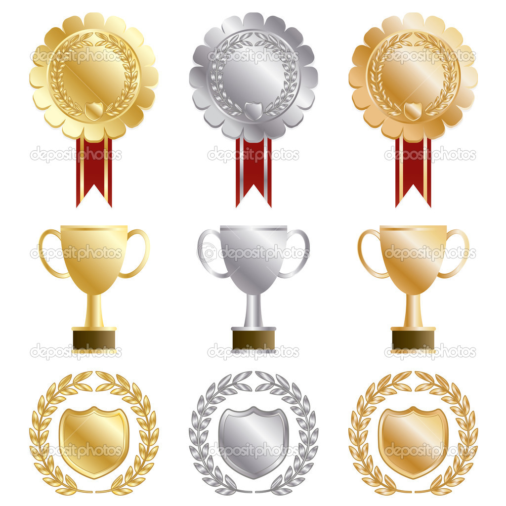Gold, silver and bronze rosettes and trophies isolated on white — Stock Vector #5538688