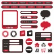Red and black web objects — Vector de stock