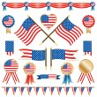 Usa flags and rosettes — Stock Vector