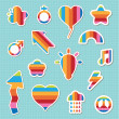 Rainbow stickers - Stock Vector