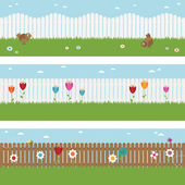 Picket fence banners — Stock Vector