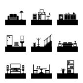 Room icons — Stock Vector