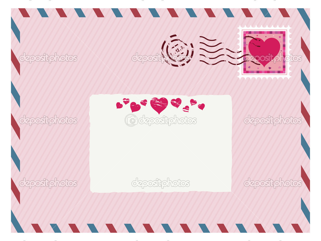 Airmail love envelope with stamp and label ready for text  Stock Vector #6150257