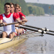 Rowing team during the start — Stock Photo