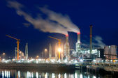 Dock and power plant at night — Stock Photo