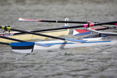 Rowing boat collision — Stock Photo