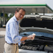 Checking oil levels — Stock Photo
