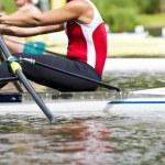 Single scull women's rowing start — Stock Photo