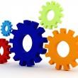 3d colorfull  gears wheel on white background — Stock Photo