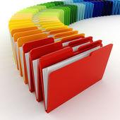 3d kolorowe foldery, na białym tle — Zdjęcie stockowe