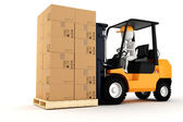 3d man worker driving a forklift — Stock Photo