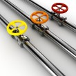 3d shiny pipelines on white background - Stockfoto