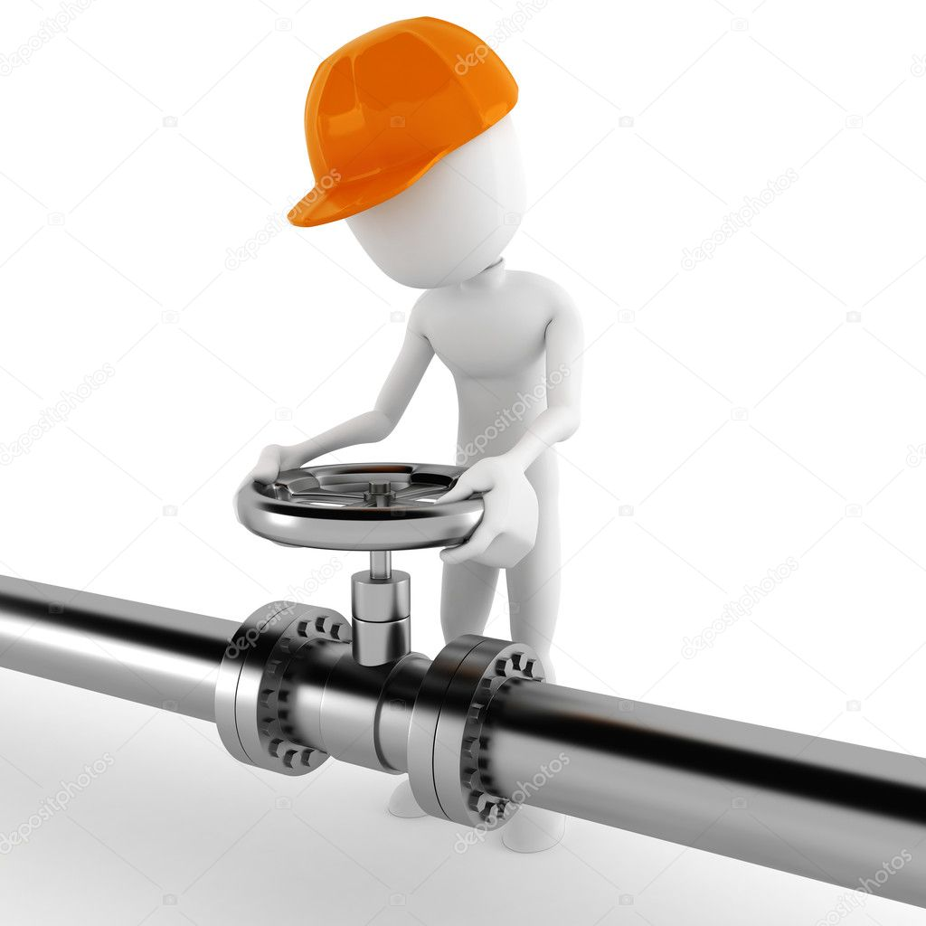 3d man worker and a shiny pipeline  Stock Photo #5599332