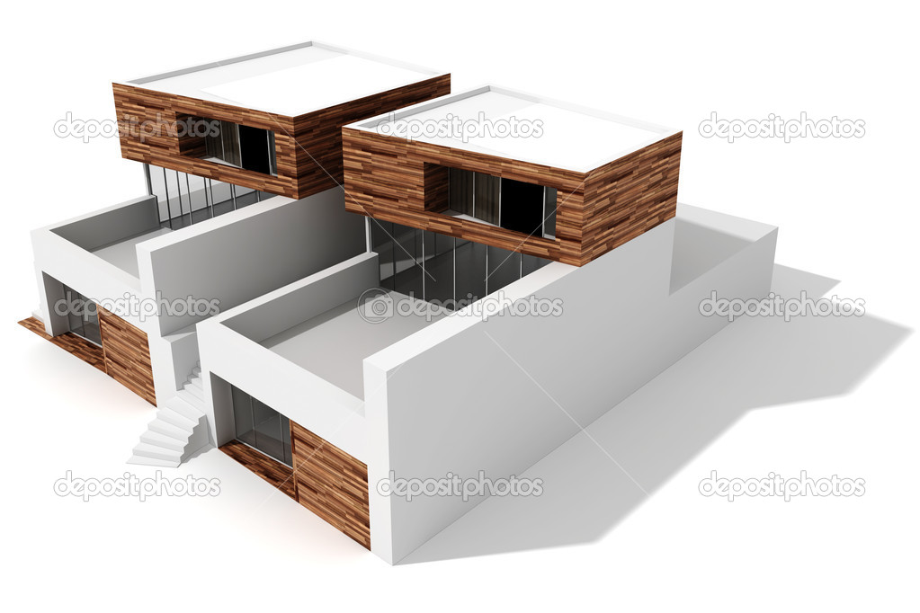 3d maison moderne sur fond blanc photographie for Modern house 6 part 3