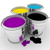 3d paint buckets on white background — Stock Photo