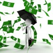 3d man business man in the money rain — Stock Photo