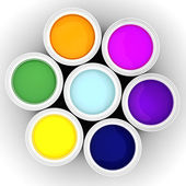 3d colorful paint buckets on white background — Stock Photo