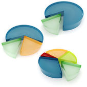 3d colorful business graph, on white background — Stock Photo