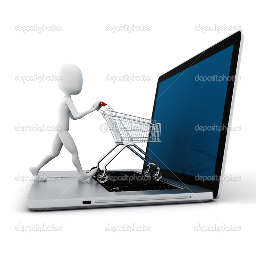 3d man and laptop online shopping , on white backgroundv - Stock Image