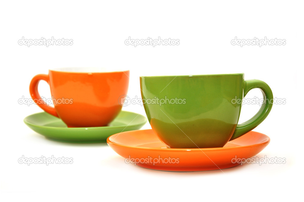 Empty coffee mugs, image is taken over a white background — Stock Photo #5982700