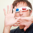 Man with 3D glasses - Stock Photo