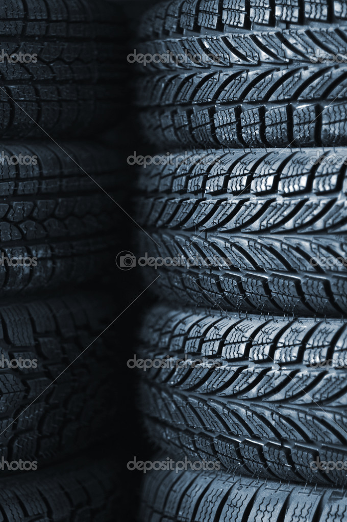 A stack of car tires, close up image — Stock Photo #6024037